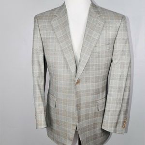 Canali Mens Plaid Silk Wool Blend Sport Coat 42S